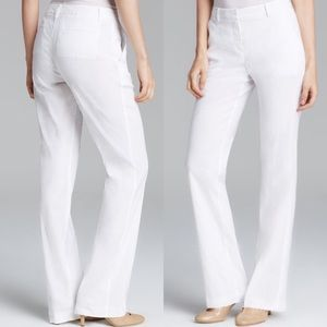 NWOT THEORY Emery Crunch Linen Wide Pants White 0